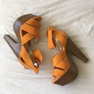 """Jessica Simpson Orange Wedges, 6"""" heel, size 8.5"""